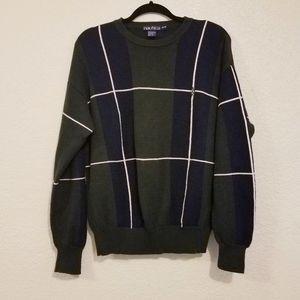 Vintage nautica plaid over sized cotton sweater